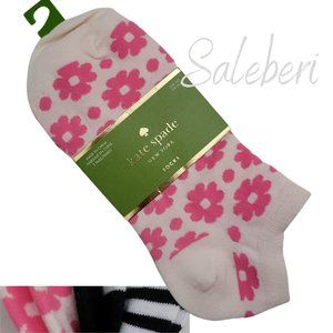 NWT KATE SPADE 3 Pair No Show Socks OS Trendy Pink